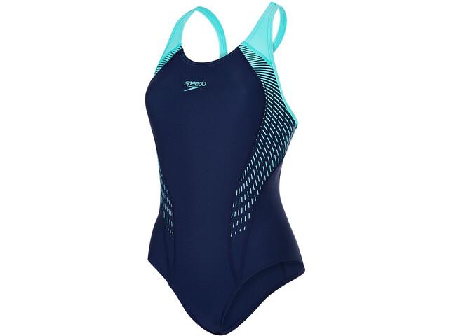 speedo Fit Laneback Swimsuit Women Navy/Spearmint/Vita Grey
